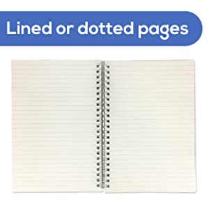 Overhead shot of open notebook on white background