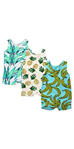 Kids Tales Baby 3-Pack Boys Girls Sleeveless Romper Pineapple Heart Flower Bodysuit