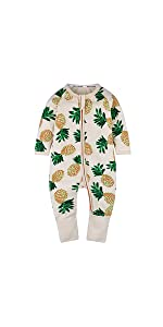 Kids Tales Baby Boys Pineapple Footed Zipper Pajama Sleeper Cotton Romper