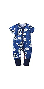 Kids Tales Baby Boys Girls Zipper Short Sleeve Pajama Sleeper Cotton Romper