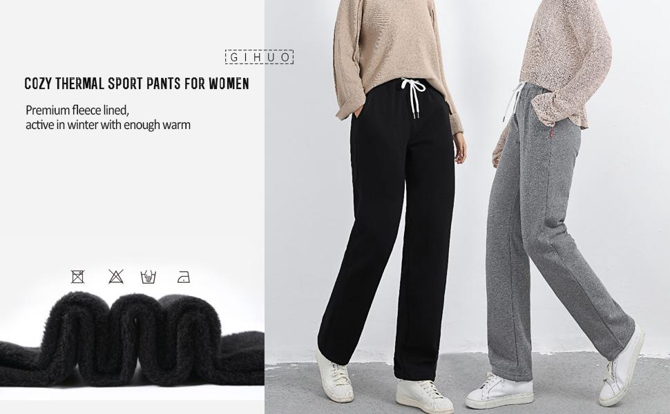 Gihuo Women's Casual Fleece Lined Active Jogger Pants Sweatpants