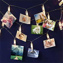 String Lights with Photo Clips Hanging Photo string Display String Lights with Lighted Clips Picture