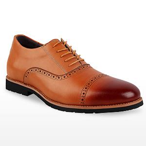 iLoveSIA Men's Formal Wingtip Cap-Toe Dress Oxford Leather Shoe Brown