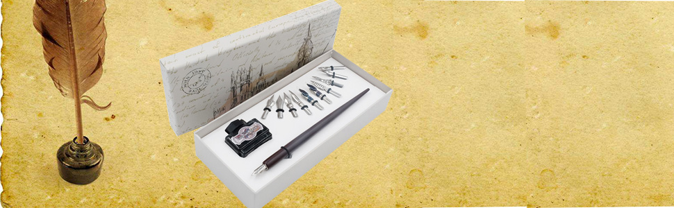wood dip pen, dip pen set,calligraphy pen,quill pen, writing quill, dip pen and ink set, dipping pen