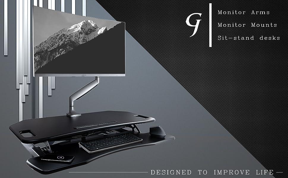 gladiator joe monitor arm desktop mount vesa adapter single double triple
