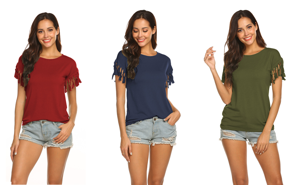 shirts for women short sleeve with tassels