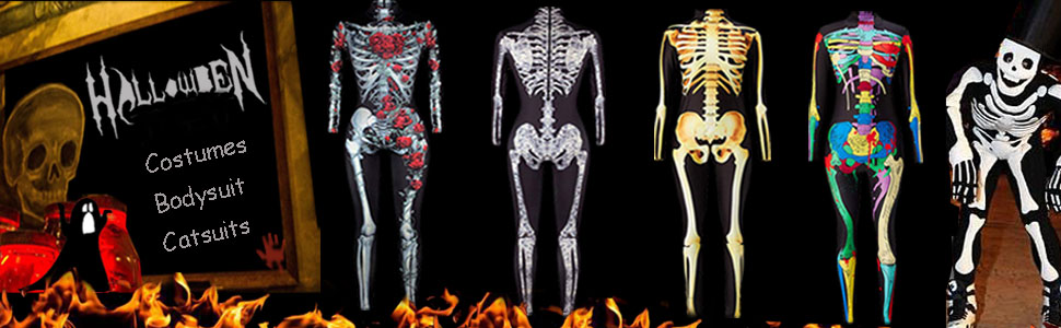 Halloween costumes 3D printed skin tight bodysuit catsuits