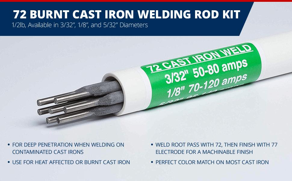 72 Burnt Cast Iron Welding Rod Kit, Deep Penetration when welding contaminated or heated cast irons