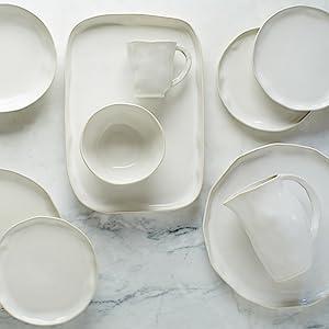 stoneware italian made european quality white dishes plates bowls platters platter mug pitcher