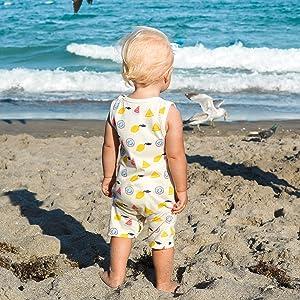 babysoy summer treat, kimono romper, baby ruffle dress