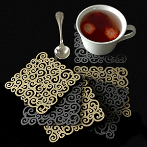 Mijal Gleiser Double Sided Coasters Laser Cut Heat Resistant Non Slip Stain Resistant Set of 6