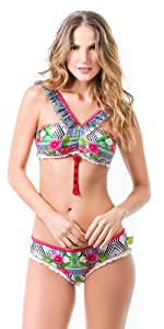 Mar de Rosas Womens Bikini 2 Pieces Swimsuit Hand Made Swimwear Multicolor