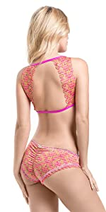 Mar De Rosas Womens Bikini 2 Pieces Swimsuit Hand Made Swimwear Back Details