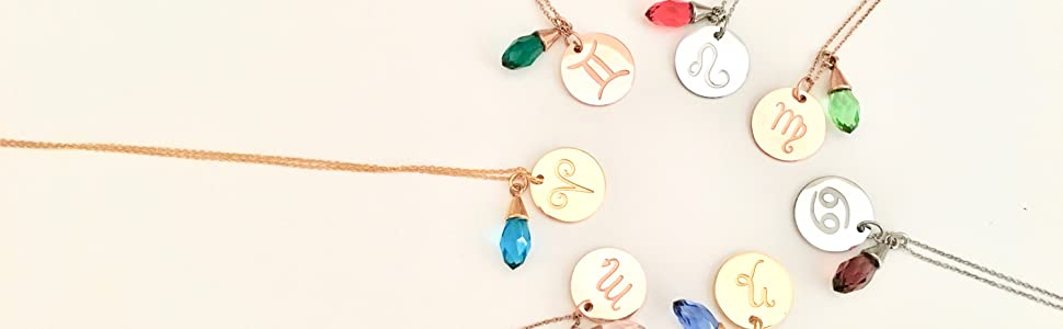 Star Sign Horoscope Necklace with birthstone