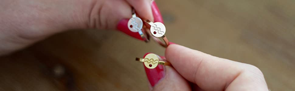 Star Sign Birth sign rings in Silver Gold and Rose Gold