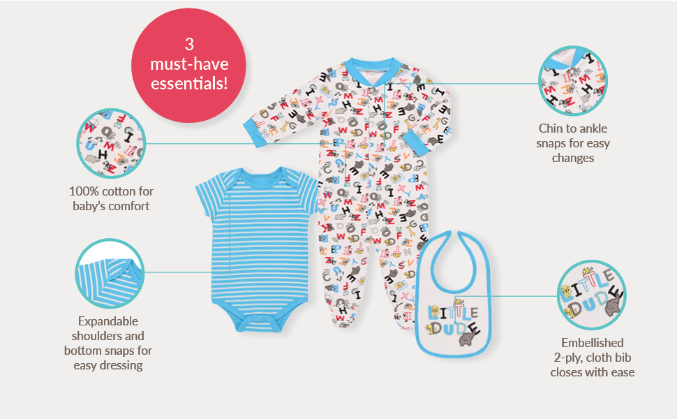Mini B. by Baby Starters 3-Piece Layette Set- Turquiose/Little Dude Animals