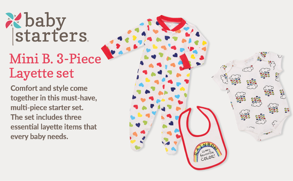 Mini B. by Baby Starters 3-Piece Layette Set- White/Rainbow Hearts