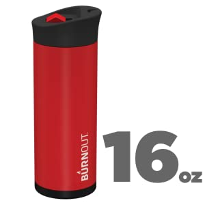 BURNOUT 16oz Red Temperature Regulating Travel Mug