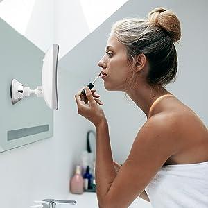 Fancii lighted suction bathroom mirror