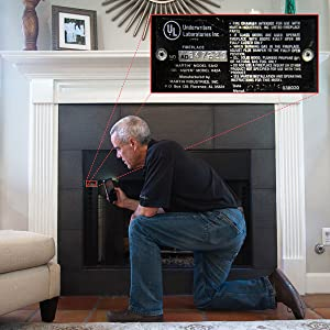 Locate and record Martin fireplace model number on inside of firebox