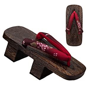 2 heel red floral geta
