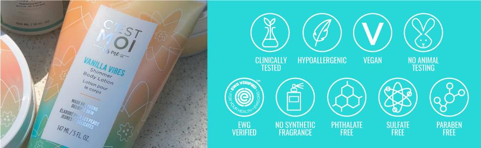 Vanilla Vibes Shimmer Body Lotion EWG certified Hypoallergenic Vegan No Animal Testing