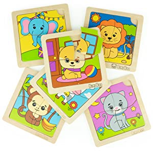 wooden animal puzzle by bimi boo for toddlers and kids safe and high quality six in a pack