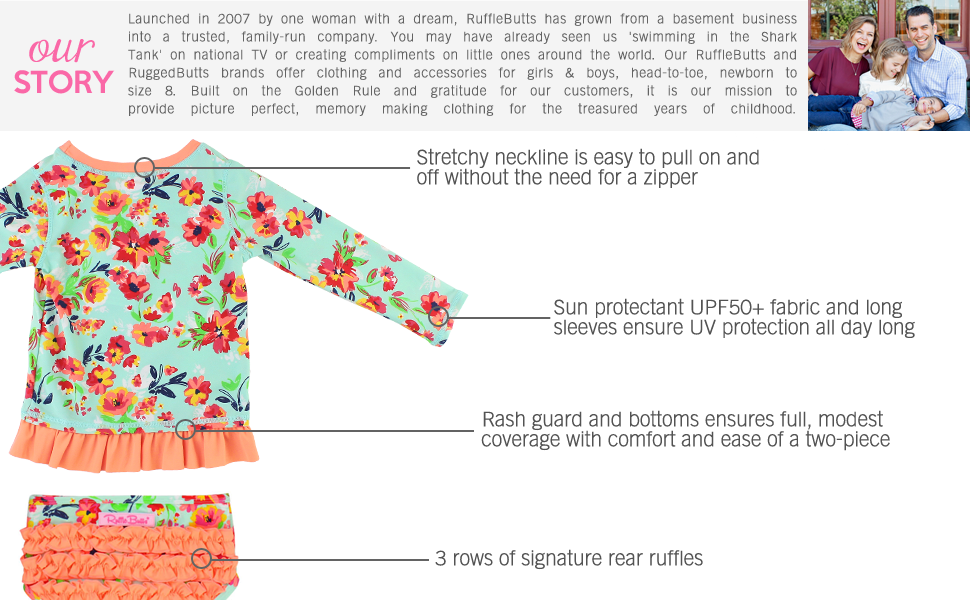 ruffebutts long sleeve rash guard swimsuit baby swimsuit