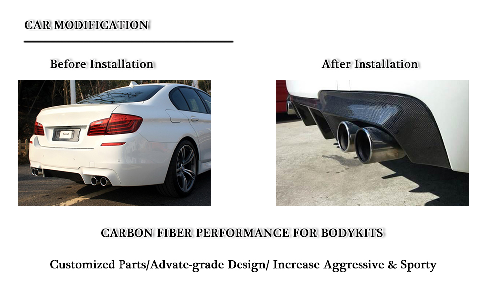 for BMW 5 Series F10 M5 Sedan | 2012 2013 2014 2015 2016 2017 carbon fiber rear bumper diffuser