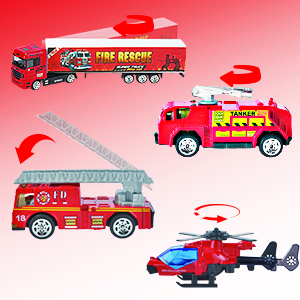 JOYIN 10 In 1 Die-cast Fire Truck Engine Vehicle Mini Rescue Emergency Fire Toy
