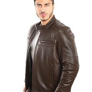 Motor cycle style leather jacket