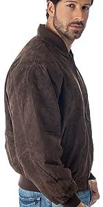 suede leather baseball bomber jacket
