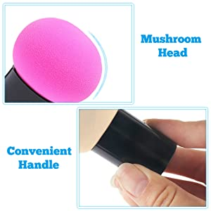 soft facial sponges with mushroom head and convenient handle