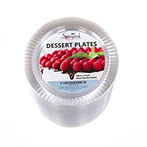 A photo of our disposable clear plastic plates for appetizers, cake and Thanksgiving