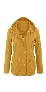 Zeagoo Womens Jackets Lightweight Fall Hoodies Zip Up Safari Anorak Coat with Pockets