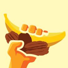banana pecan in hand