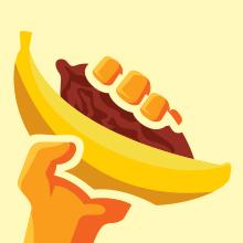banana cacao in hand