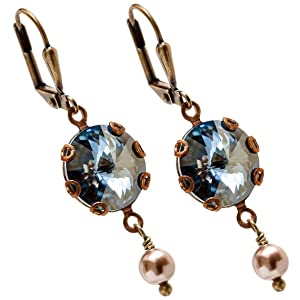 Rivoli Crystal Blue Shade Dangle Earrings