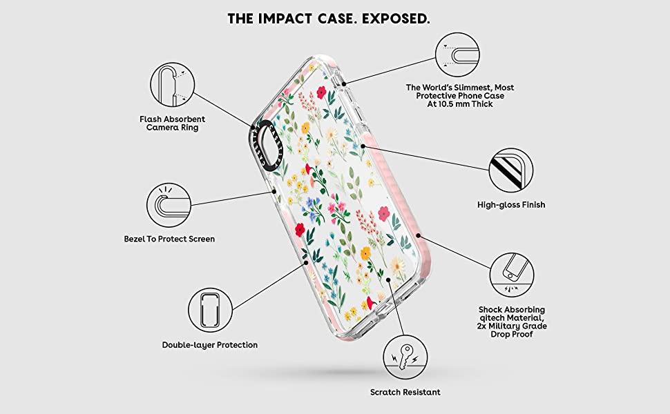 Casetify Clear Impact iPhone Xs Case iPhone X Case for Apple iPhone Xs