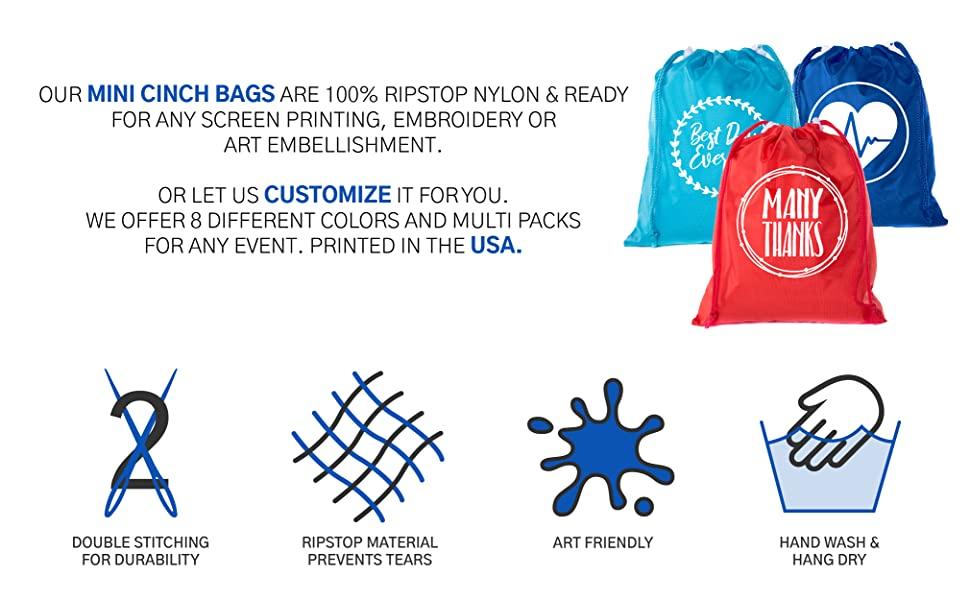 custom mini bags personalized durable artwork ready cinch sack bulk