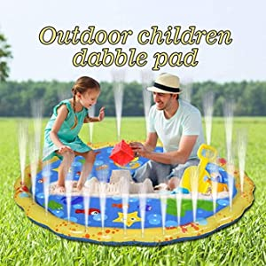 YAVOCOS Splash Water Play Mat, 60In-Diameter Sprinkle and Splash Play Mat Toy for Outdoor Swimming