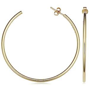 open hoop earrings gold shiny medium large hoops jewelry
