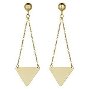 swing eaarrings gold triangular triangle beads post earing erring chain earring swoman jewelry