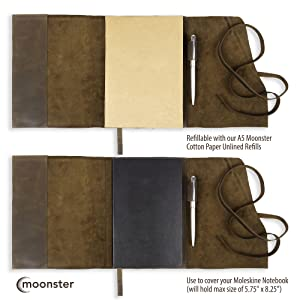 refillable leather journal - refill with your own classic moleskin
