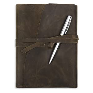 Refillable Leather Journal with free premium silver ball pen and gift bag