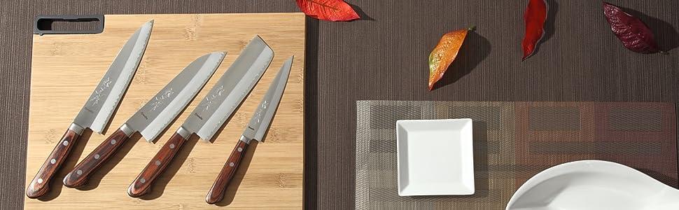 Syosaku Japan VG-1 Gold Stainless Steel Mahogany Handle Series