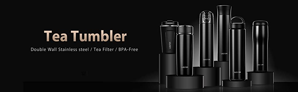 vacuum insulated tea tumbler stainless steel with tea infuser lid filter 17 ounce black matte design