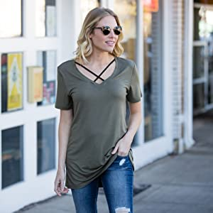 cut out comfortable vneck short sleeve oversized