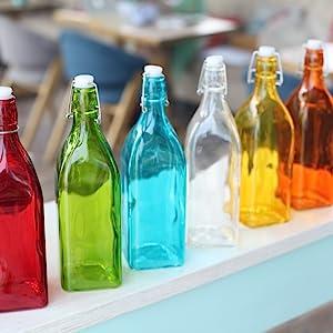 Blue Glass Water bottle stopper leakproof cap reusable refillable drink brewer fridge solid