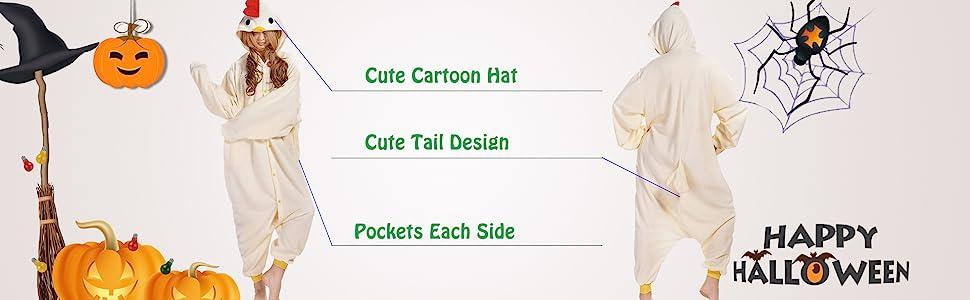 white beige chicken unisex cosplay costume onesies